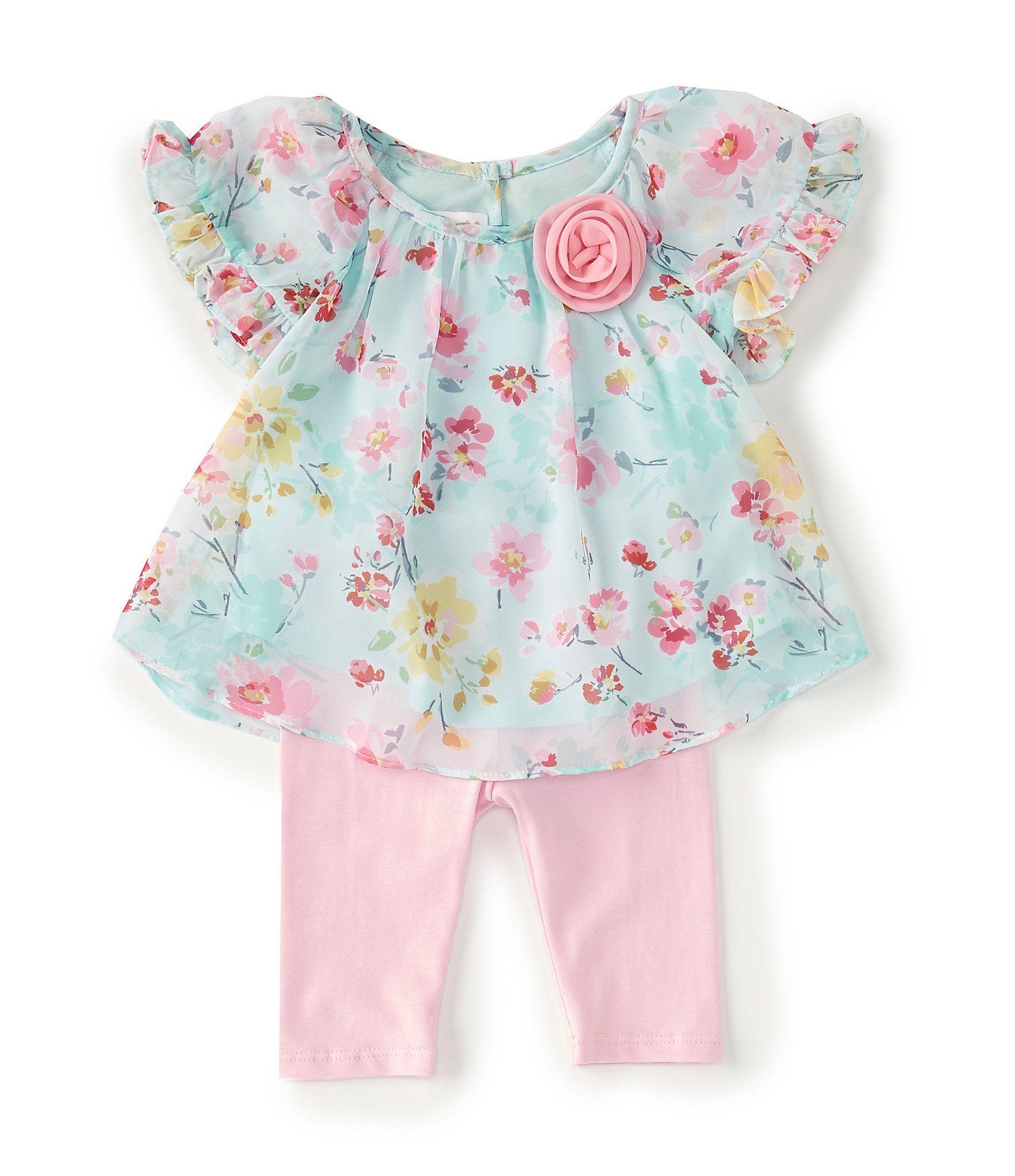 Photo of Bonnie Jean Baby Girls Newborn-24 Months Flutter-Sleeve Floral Tunic & Legging Set | Dillard's