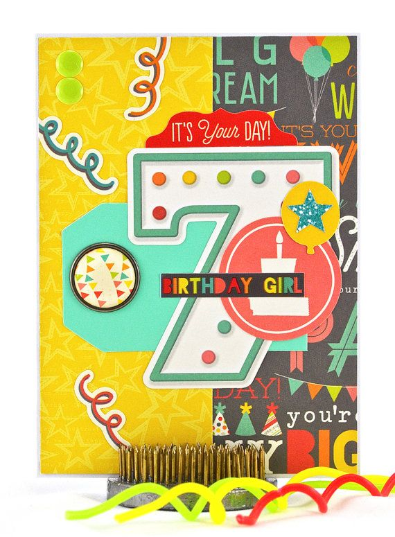 A Seventh Birthday Has Never Been So Much Fun This Happy 7th Card Pulls Out All The Stops When It Comes To Festive Elements Thecardkiosk