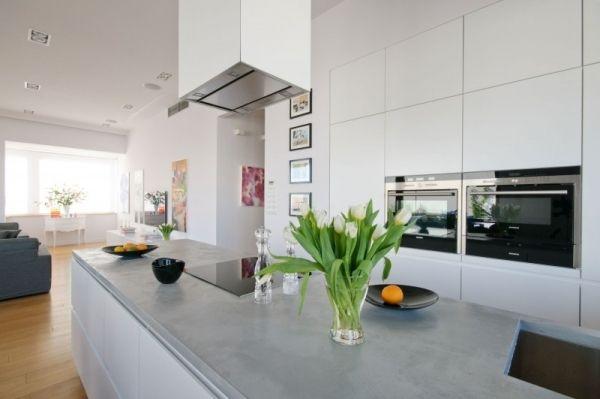 Einbau-Küche weiß Kochinsel-Beton Arbeitsplatte Arbeitsplatte - Küchen Weiß Hochglanz