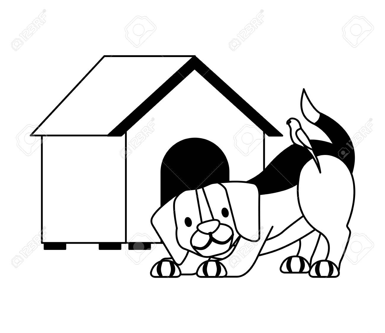 Dog And Wooden House Pet Shop Vector Illustration Sponsored House Wooden Dog Pet Illustration In 2020 Vector Illustration Illustration Pet Shop