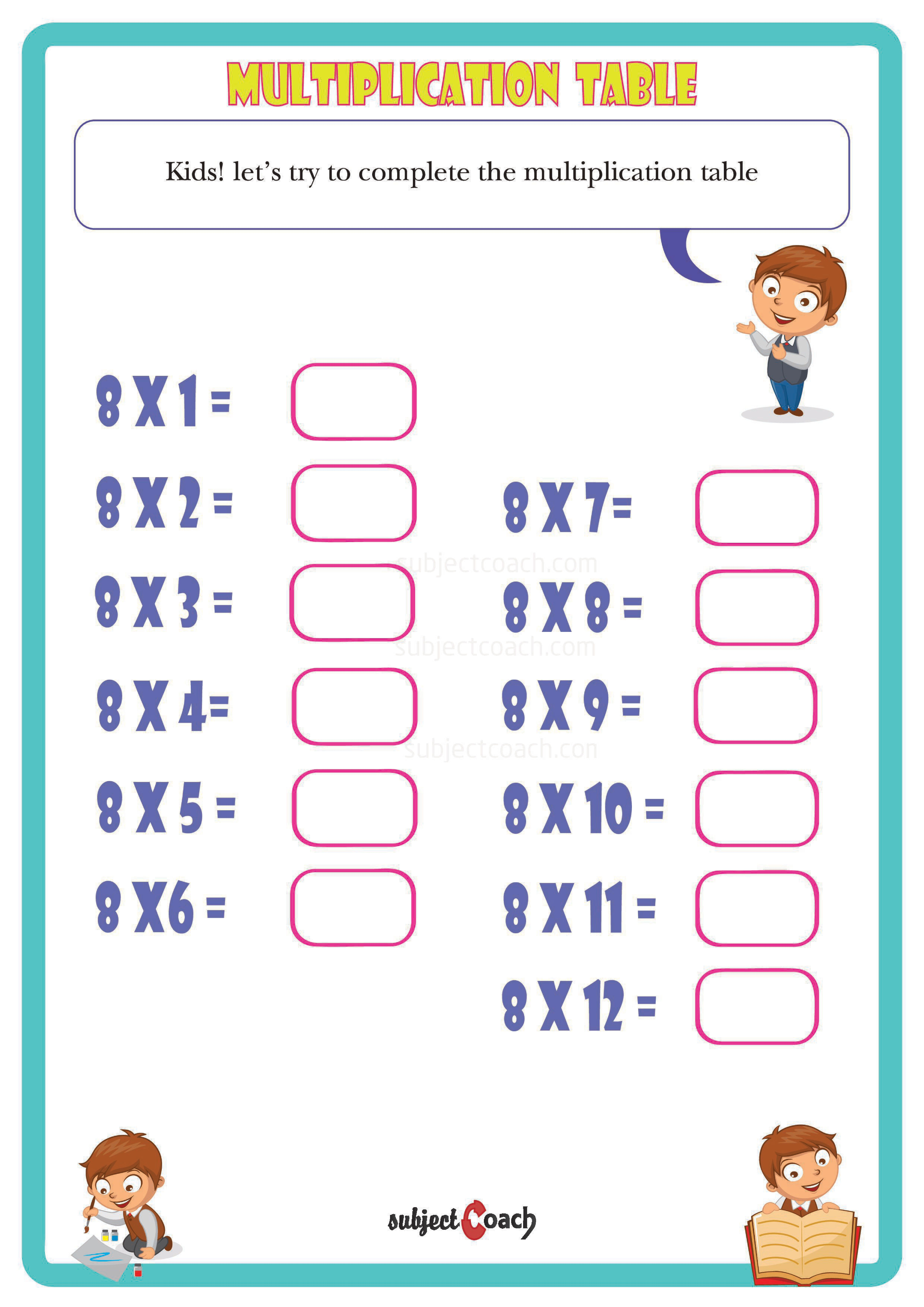Let Your Kids Solve This Multiplication Table For Number 8 It Can Be Used As A Reference For Year 1 Math Students Thi Free Math Math Year 1 Maths Worksheets [ 8770 x 6200 Pixel ]
