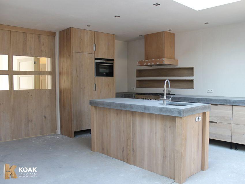 Eiken Keuken Met Betonnen Blad : Whithewash keuken met licht betonnen blad Koak Design ikea
