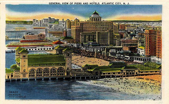 Atlantic City Beach Piers Boardwalk Hotels Vintage Color Postcard Packet 1930s 1940s Atlantic City Hotels Atlantic City Postcard