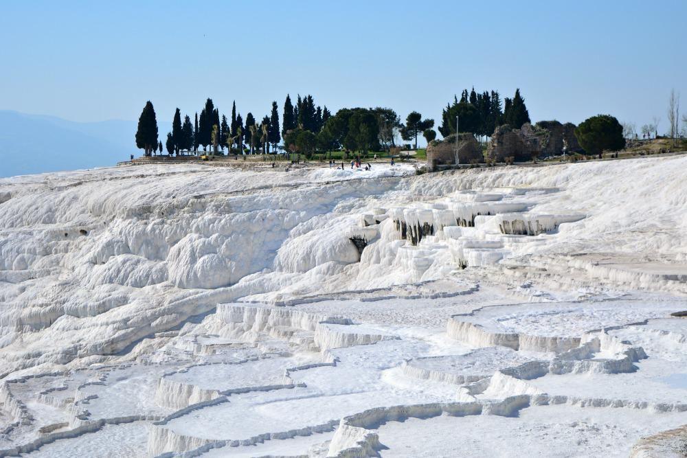 Snow white calcium deposits at Pamukkale Turkey
