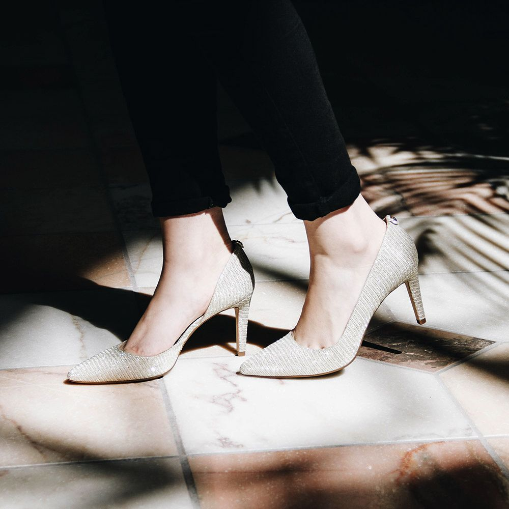 943f7802c Michael Kors Dorothy Flex D'orsay Heel Women's - White/Gold Dazzle those  around