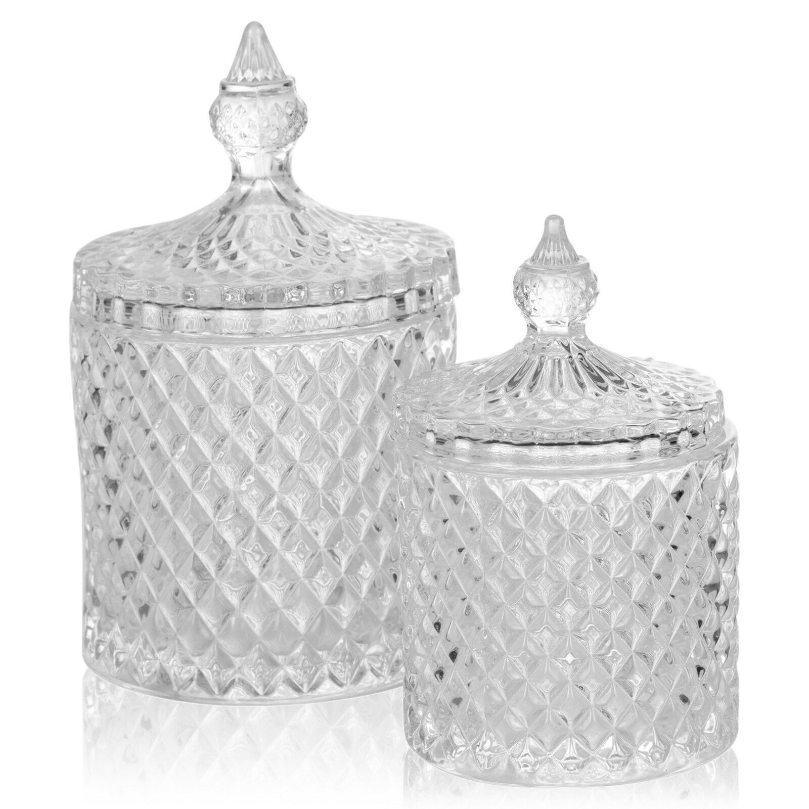 Stylish Glass Alpina Candy Jar Decorative Sweet Container With Lid 2 Sizes Glass Decorating Ideas Of Glass Decorating In 2020 Glass Jars With Lids Candy Jars Jar