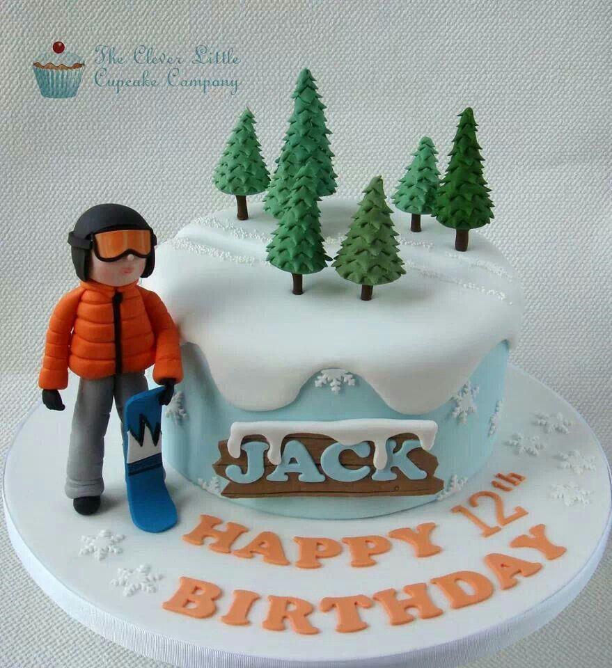 Snowboarding cake Boy Birthday Cake Ideas Pinterest