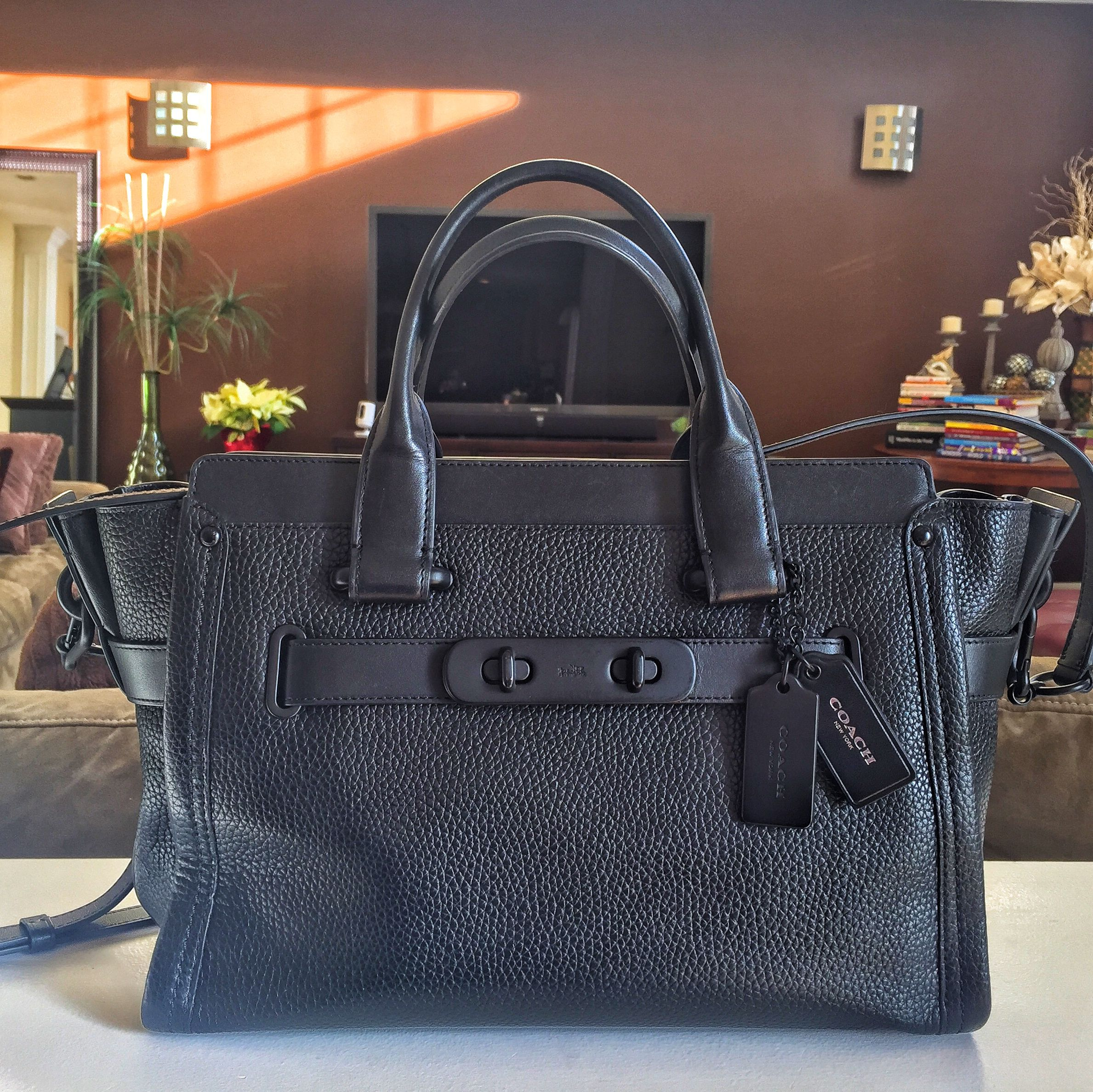 5e4328243396 My everyday favorite! Coach Swagger Carryall in Pebble Leather