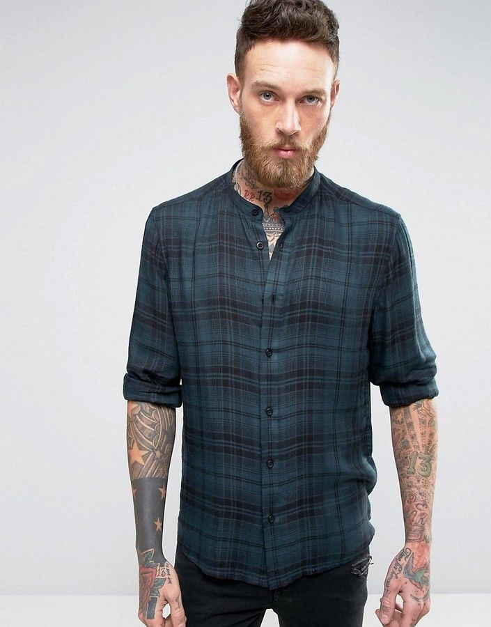 ASOS Regular Fit Viscose Check Shirt With Grandad Collar