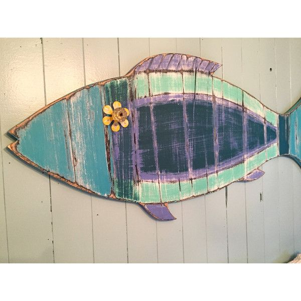 Fish Wall Sign Art Turquoise Beach House Weathered in Sea Glass... (€150) ❤ liked on Polyvore featuring home, home decor, wall art, home & living, home décor, silver, wall décor, sea home decor, ocean home decor and turquoise wall art