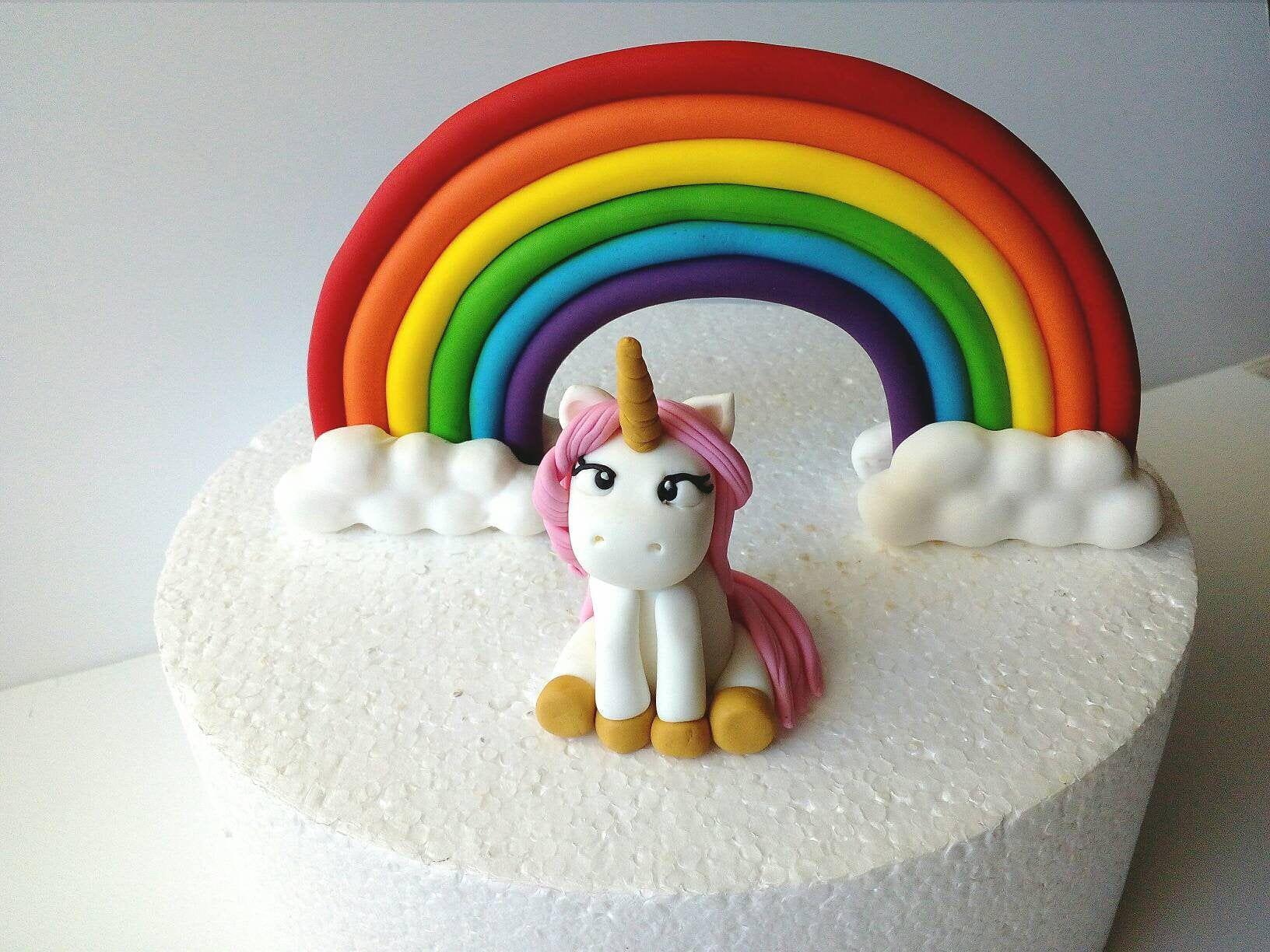 Unicorn rainbow fondant cake topper | Cake toppers ...