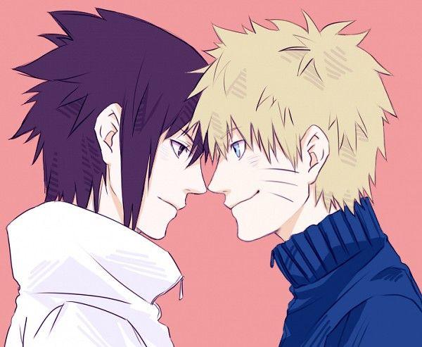 Tags: Anime, NARUTO, Uzumaki Naruto, Uchiha Sasuke, Pink Background, Face To Face, Pixiv Id 1859753