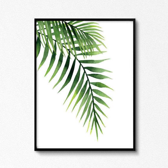 Palmenabdruck, Exotisches Blattaquarell, Tropenwandkunst, Pflanzendruck, Green Plant Plakat, Kunstwerke zum Download, Tropenküche #couponing