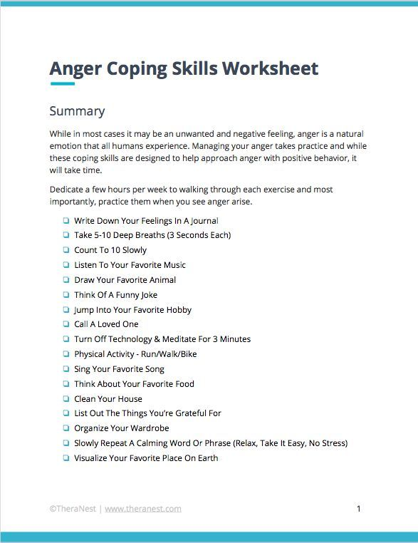 Coping Skills Worksheets Amp Techniques For Anger Management