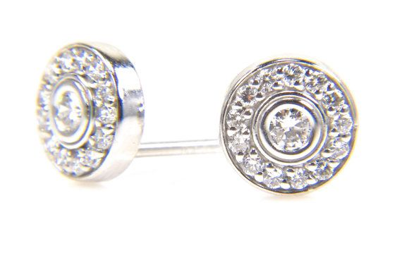 Diamond Halo Earrings  White Gold Diamond Earrings  by bskdesigns