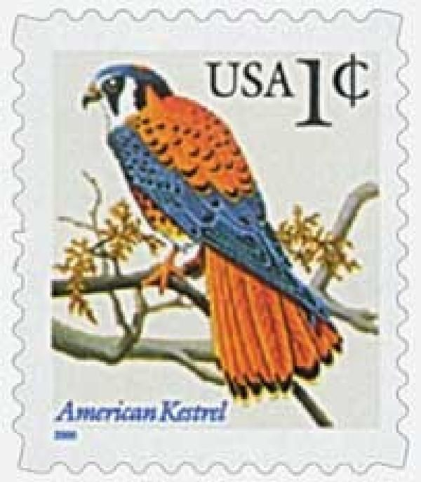 2000 1c American Kestrel, s/a blue inscr for sale at Mystic Stamp Company