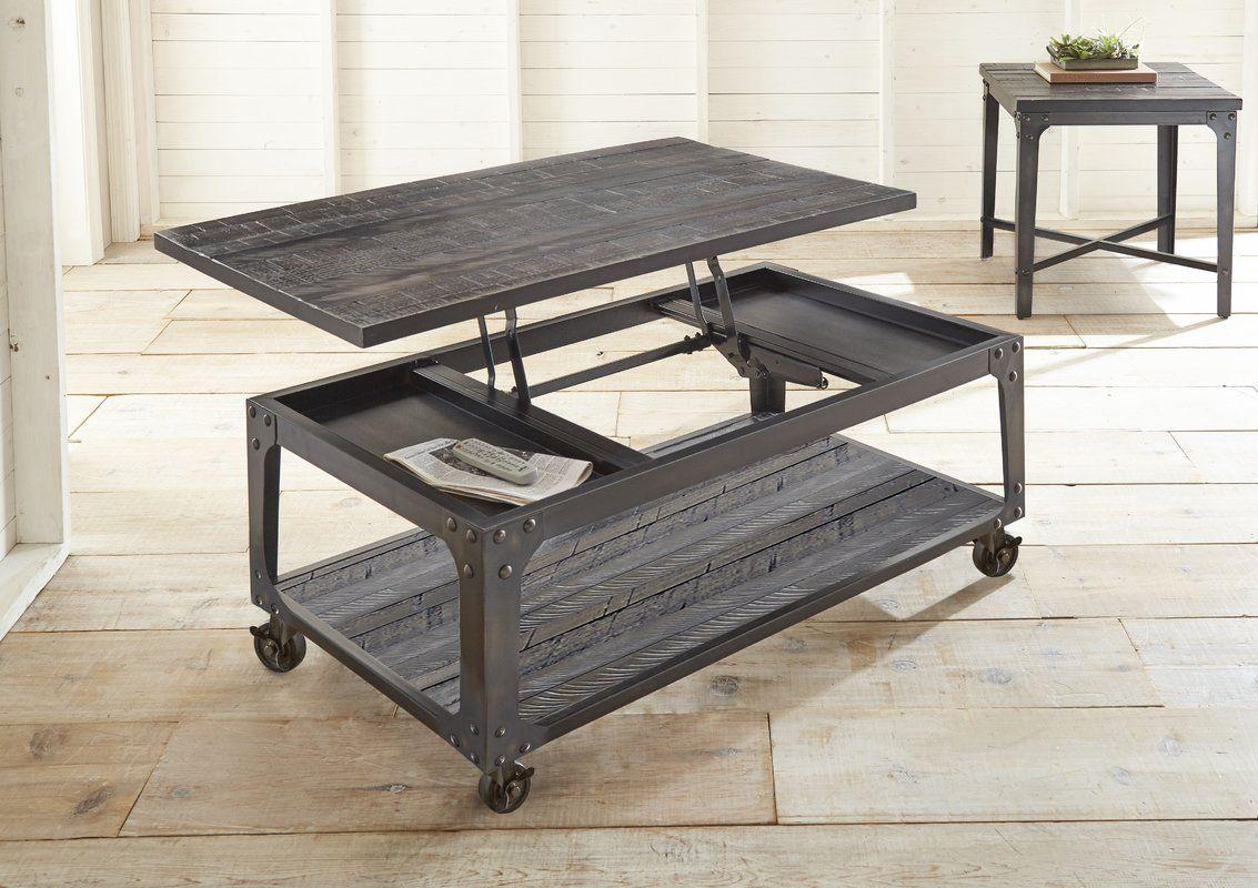 Glastonbury Solid Wood Lift Top Wheel Coffee Table with