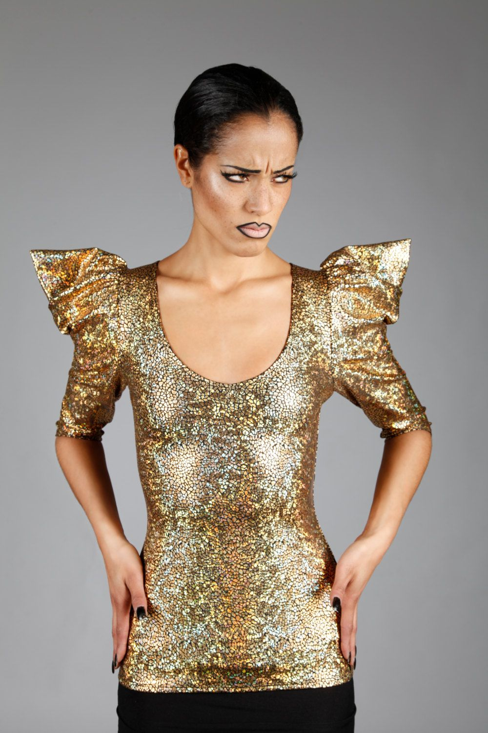 holographic gold top w. pointy puffy sleeves, dance stage wear
