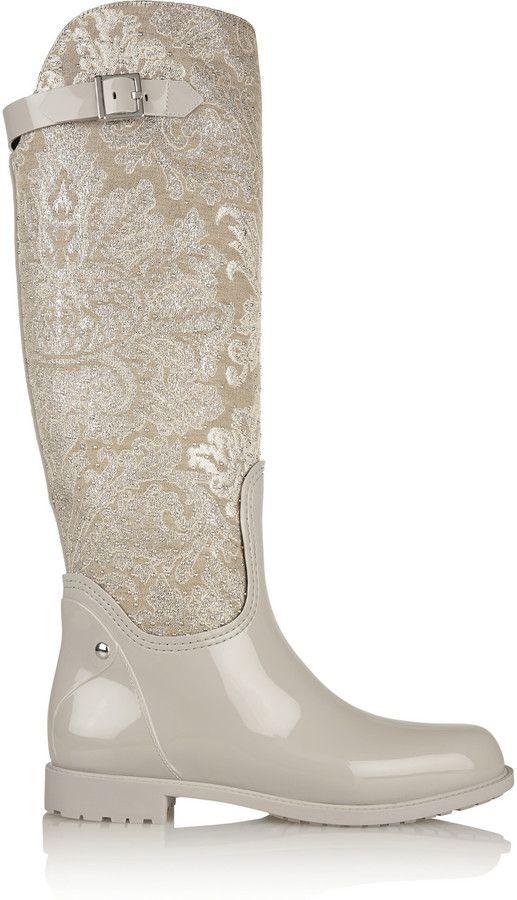 86382e798d5 René Caovilla Studded metallic jacquard and PVC #rain #boots ...