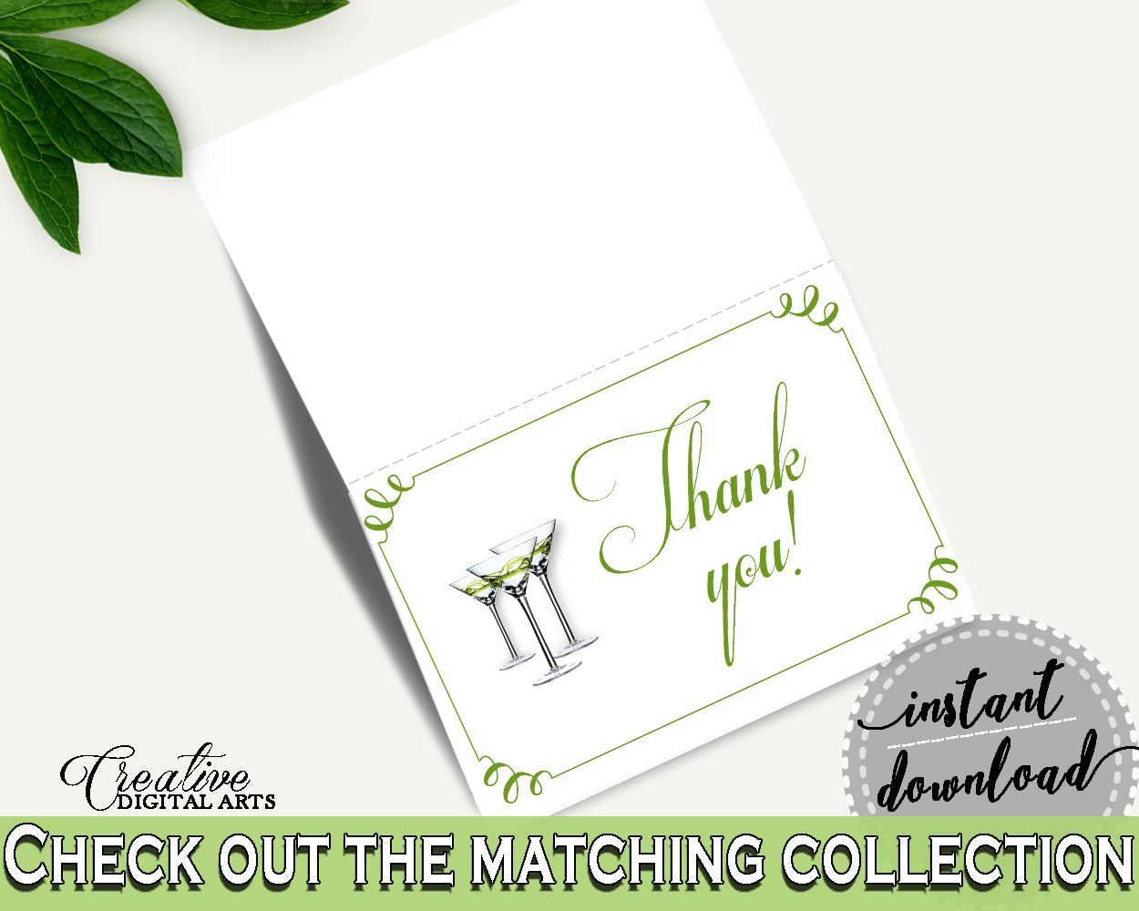 Thank You Card Bridal Shower Thank You Card Modern Martini Bridal Shower Thank You Card Bridal Shower Modern Martini Thank You Card ARTAN - Digital Product #bride #bridal