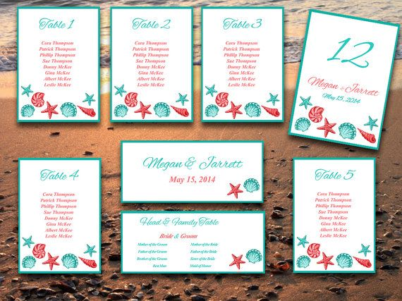 Beach Wedding Seating Chart Template  Seashell Seating Chart