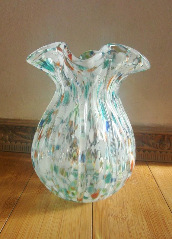 Vintage Murano Glass Vase Speckled Hand Blown Glass Clear