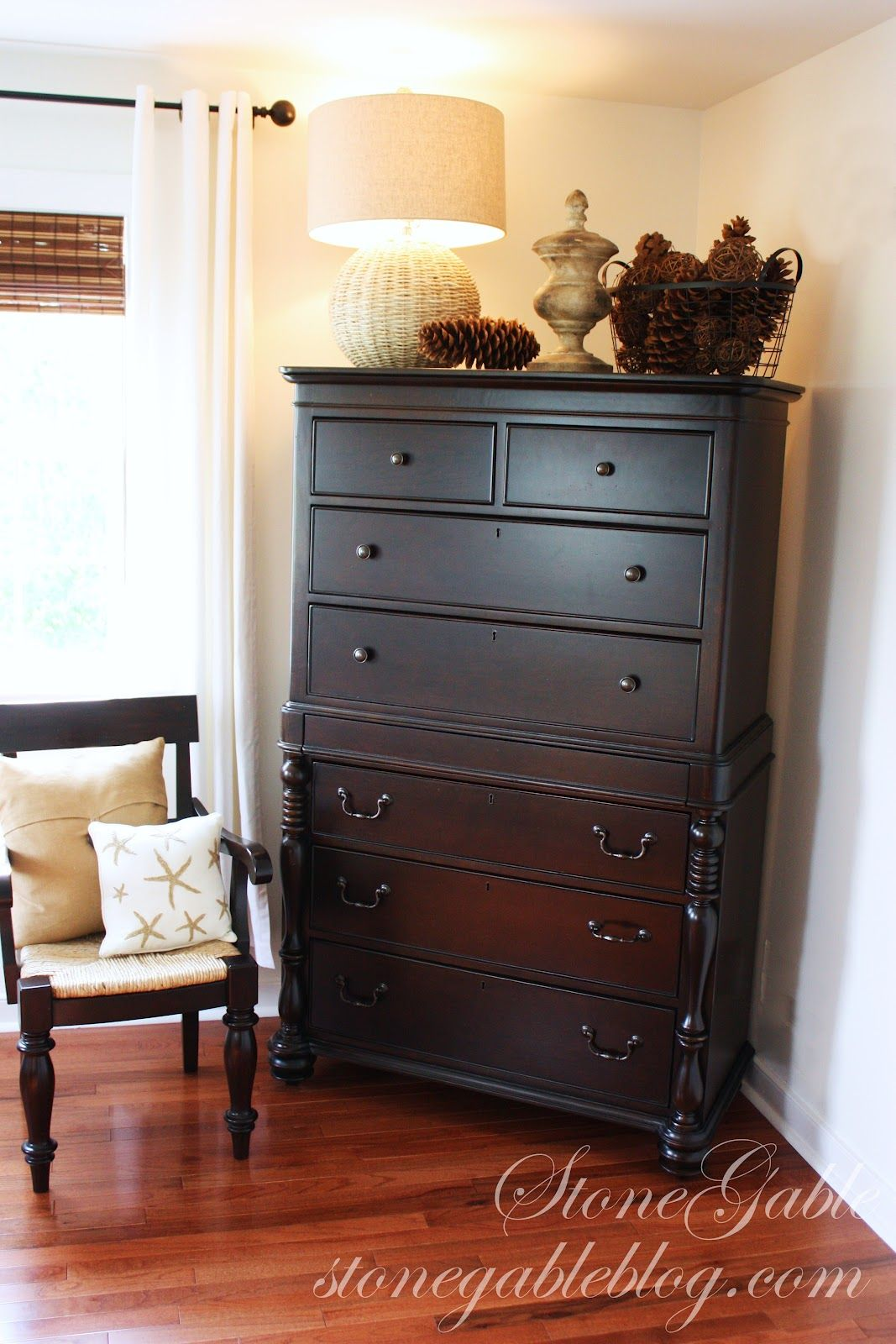 love the look.  Dresser in living room, Bedroom dressers, Tall