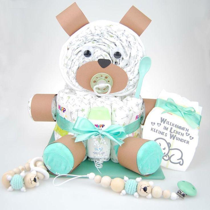 Dieses niedliche Teddybär Set besteht aus #Windeltorte + 3D Bear #babyteddybear