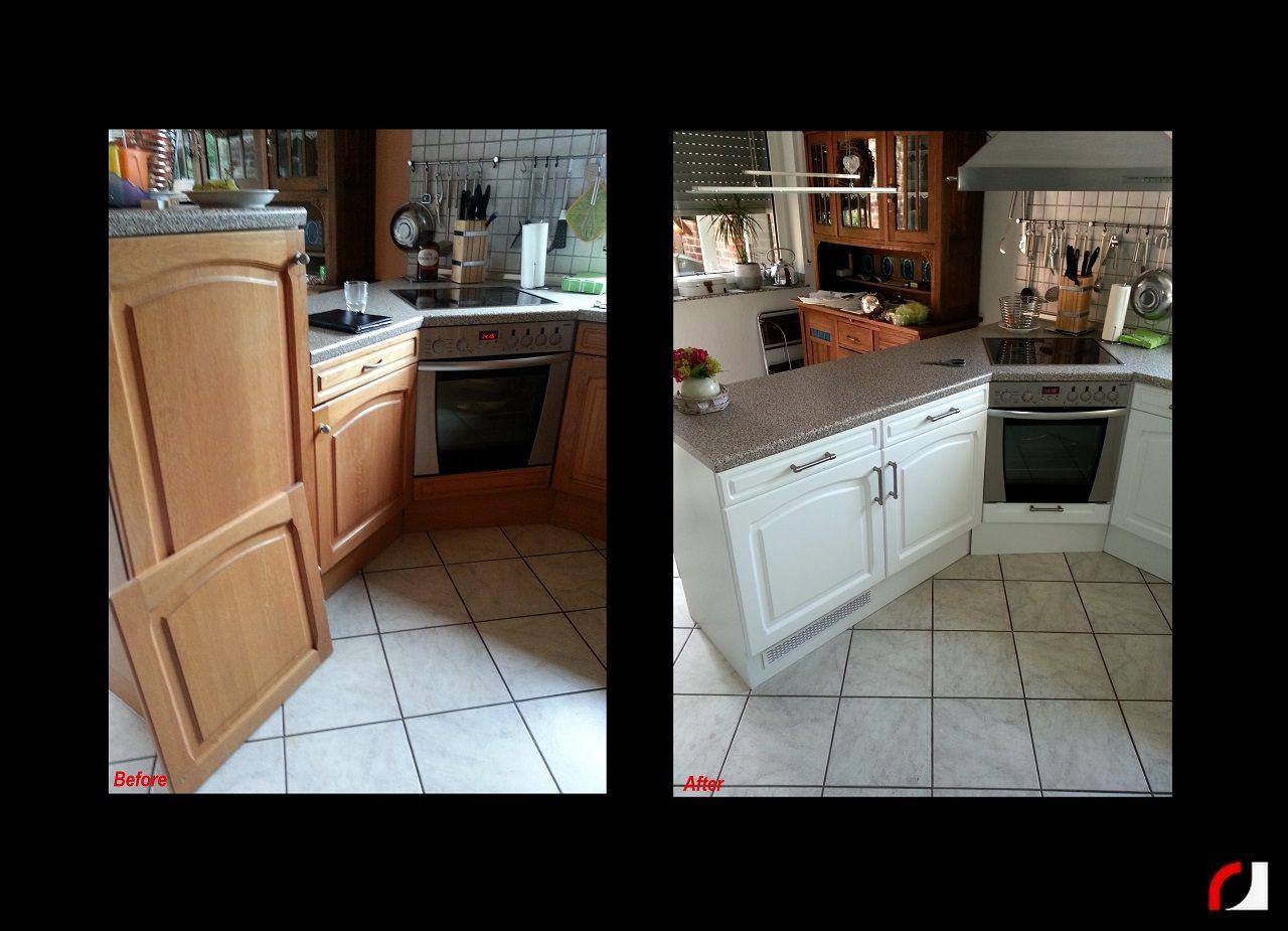 Eiken Keukenkast Verven : Eiken houten keuken in wit gespoten spuiterij verven