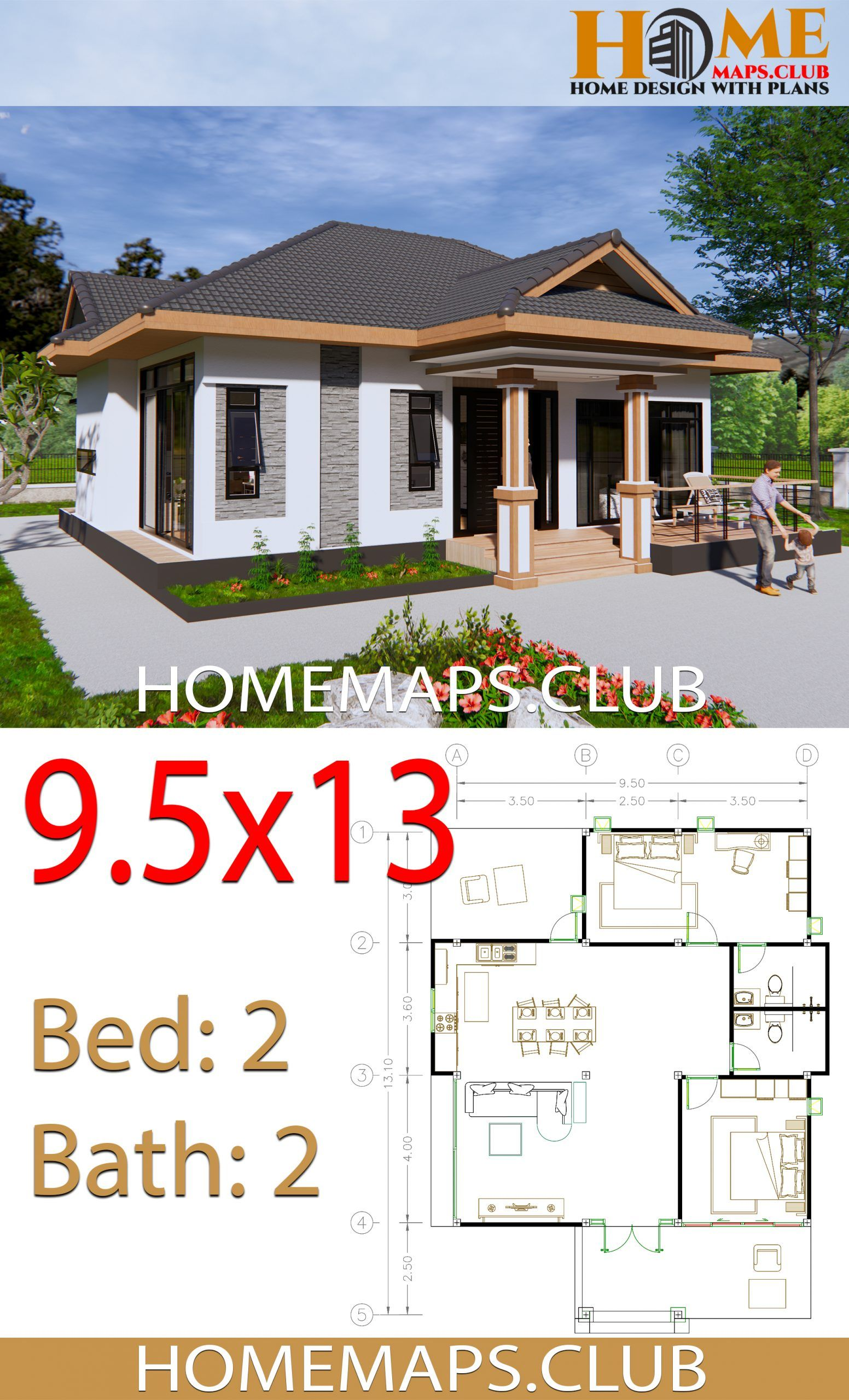 House Plans 9x13 5 With 2 Bedrooms Hip Roof House Plans Simple House Plans House Roof