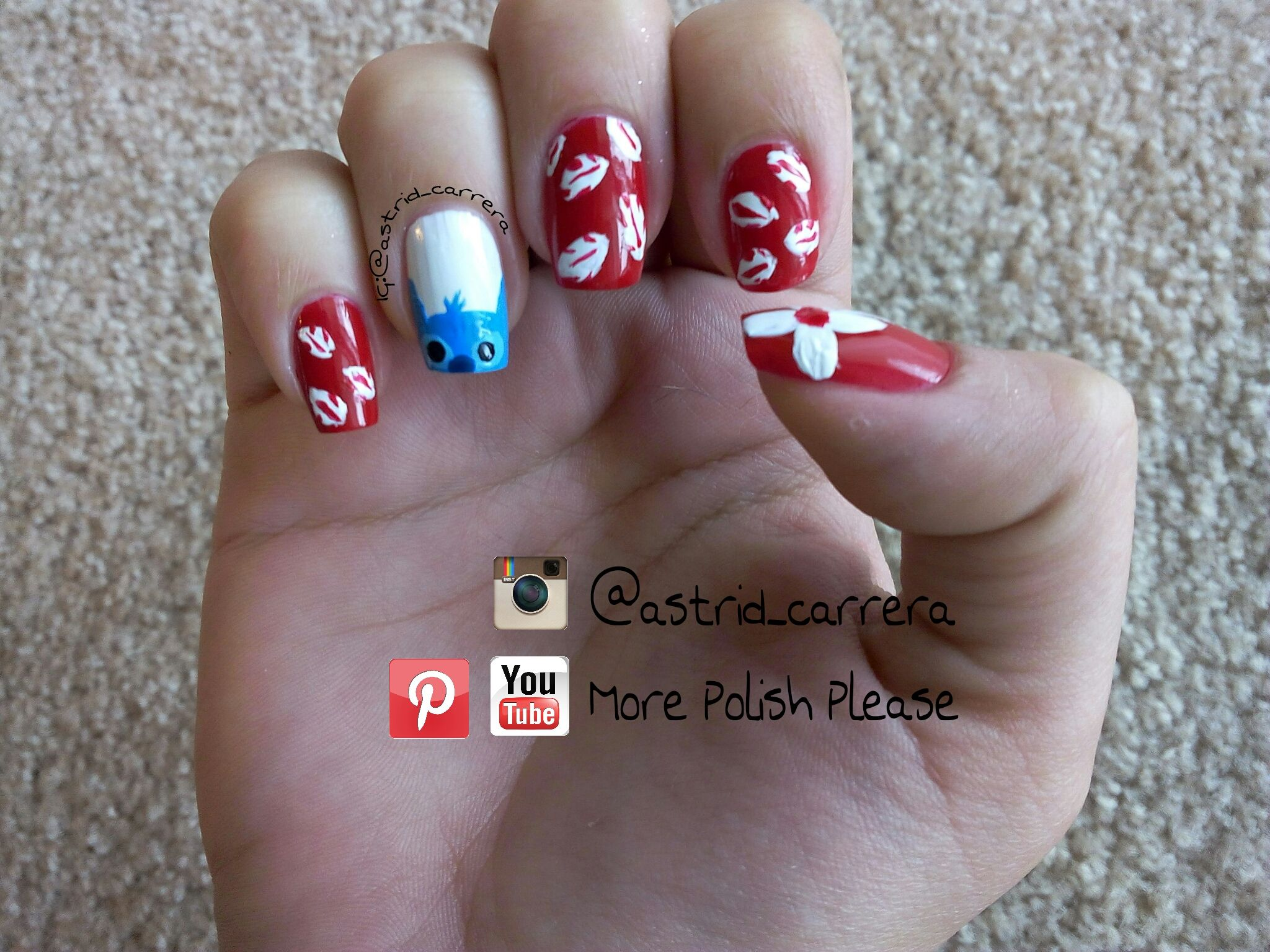 Lilo & Stitch Nail Art Design. Please visit my Youtube channel for a ...