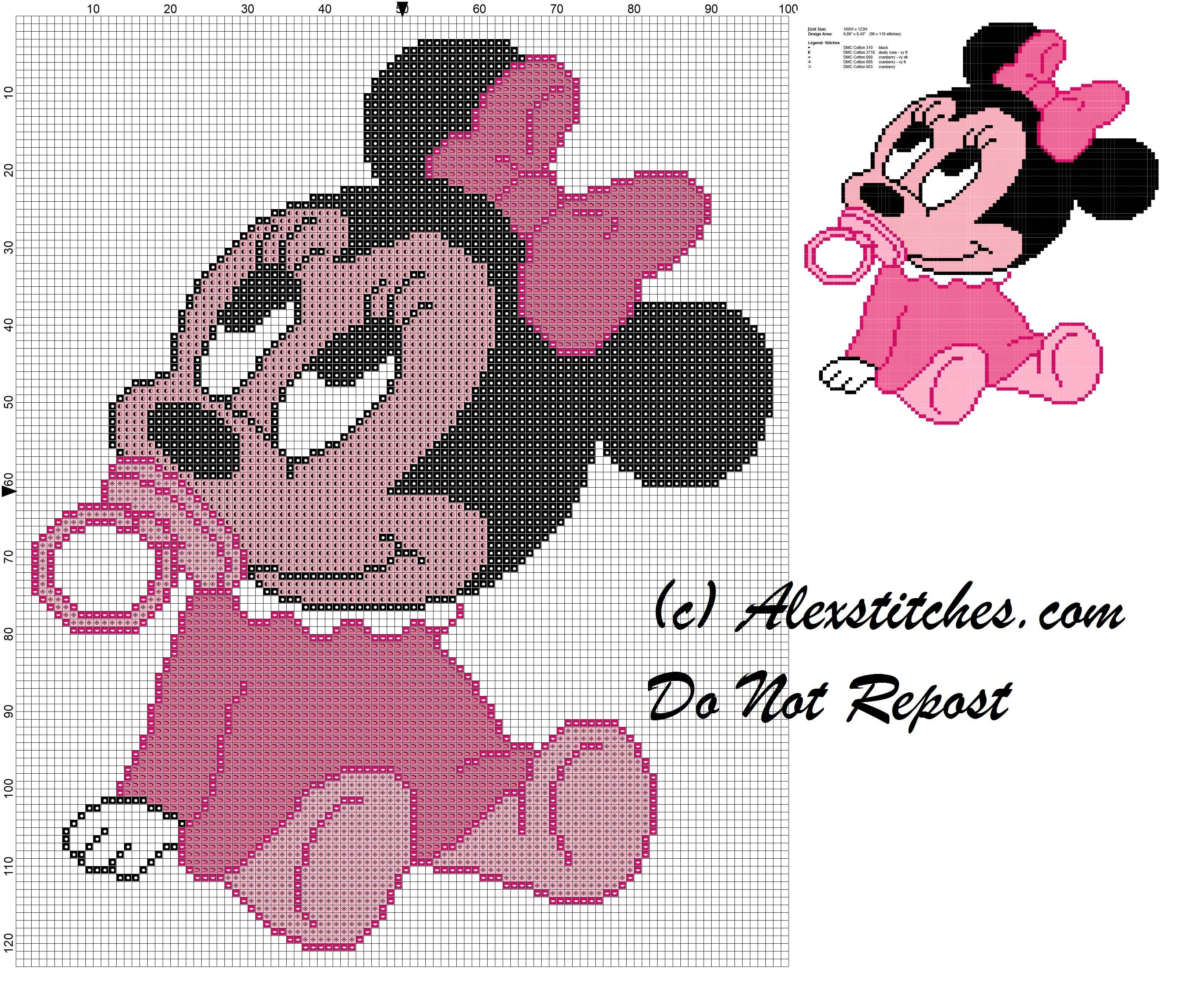 Minnie bébé avec motif sucette de point de croix   Point ...