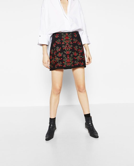 d561e3bc Image 4 of EMBROIDERED MINI SKIRT from Zara | Fashion | Black a line ...
