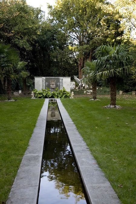 Water Feature Flowing Into A Rill Pool Water Features Garden Inspiration Small Water Features