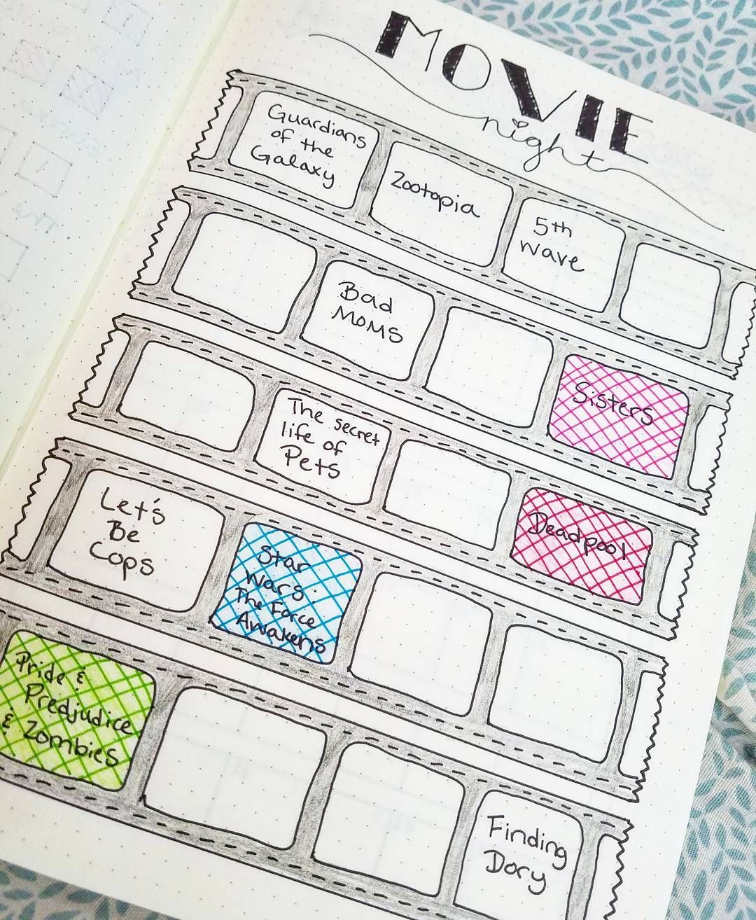 Movies To Watch Layout Bullet Journal Journal Bullet Journal