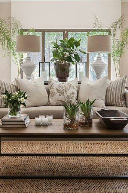 Livingroom Decor With Beige And Plants A Clean Style That S Comfortable And Not Too Sterile House Interior Living Room Designs Home Living Room