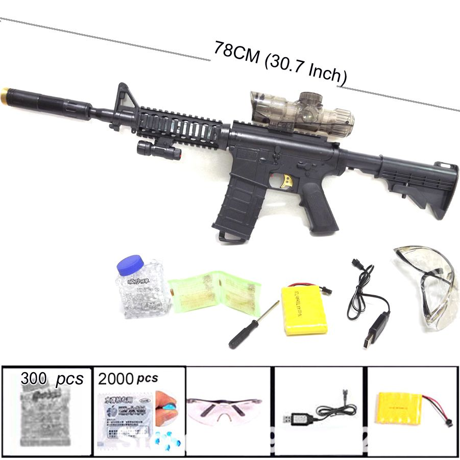 M4 Toy Gun Continuous Fire Sniper Rifle Nerf Gun Soft Water Bullet Electric  Gun Toys for