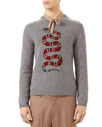 f56525731 GUCCI Snake Jacquard Wool Sweater, Gray. #gucci #cloth # | Gucci Men ...