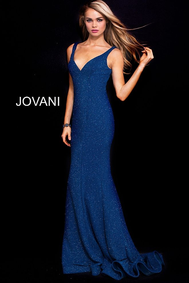 519a167975e Floor length form fitting atlantic honor glitter waffle prom gown with  sweeping train and horse hair hem features sleeveless bodice with v neck.   Jovani ...