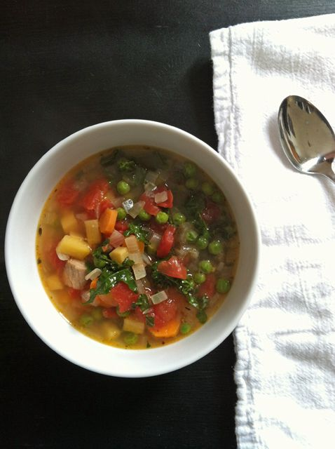 Vegetable Beef Soup - Vegetables and cubed roast beef play happily together in this soup to warm the tummy.