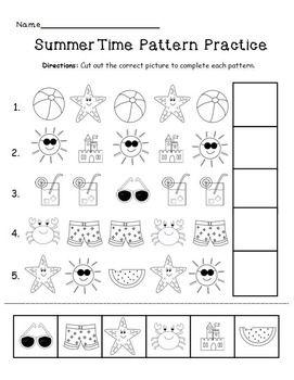 Summer pattern practice page pinterest summer pattern practice summer lesson math patterns preschool worksheets preschool ibookread Download