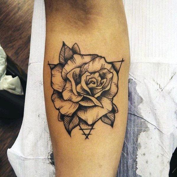 40 Geometric Rose Tattoo Designs For Men Flower Ink Ideas Rose Tattoos For Men Rose Tattoo Forearm Geometric Rose Tattoo