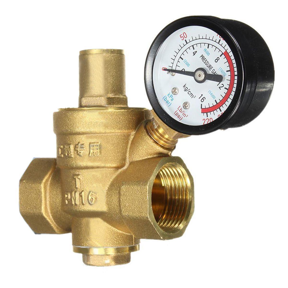 Reliable Brass Water Pressure Regulator With Gauge Flow Dn20 3 4 Connector Adjustable Mayitr Pressure Reducing Valves Affiliate