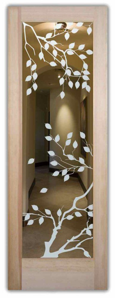 Interior Doors With Glass Etching Frosted Glass Asian Design Leaves Foliage  Cherry Tree Sans Soucie