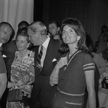 Jacqueline Kennedy at RFK NYC campaign headquarters, June 4, 1968, watching the returns from California primary.