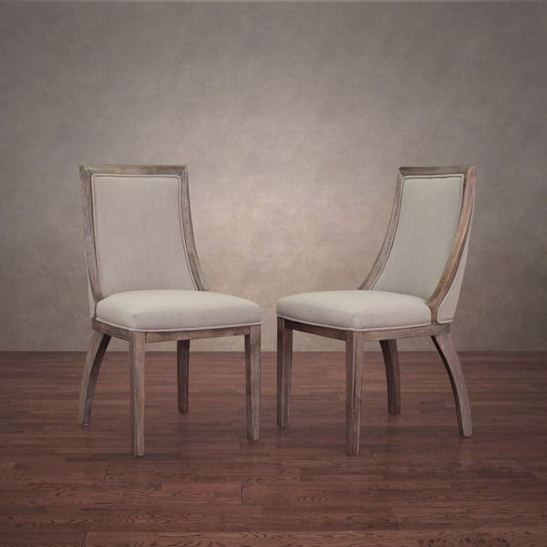 Park Avenue Beige Linen Dining Chairs (Set of 2) - Overstock ...
