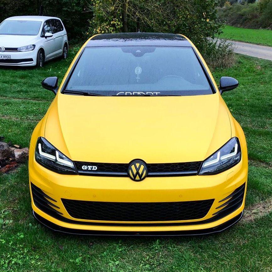 Golf 7 Gtd Sunflower Yellow Volkswagen Volkswagen Car Car Volkswagen