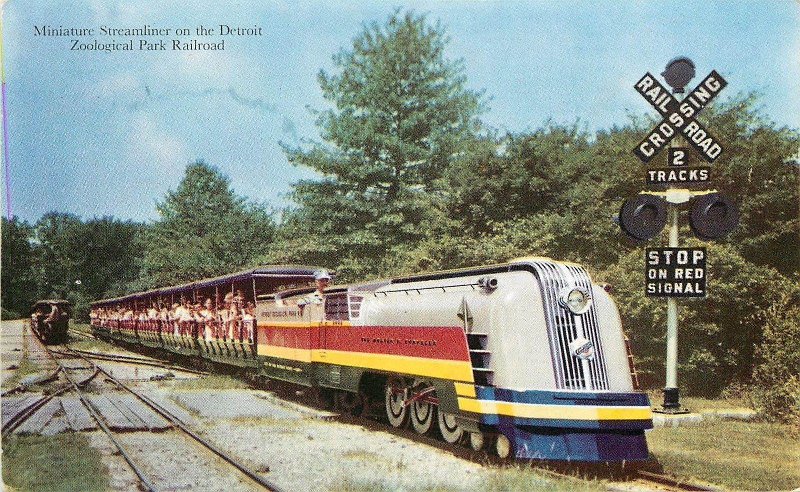 Detroit zoo train vintage post card detroit zoo detroit