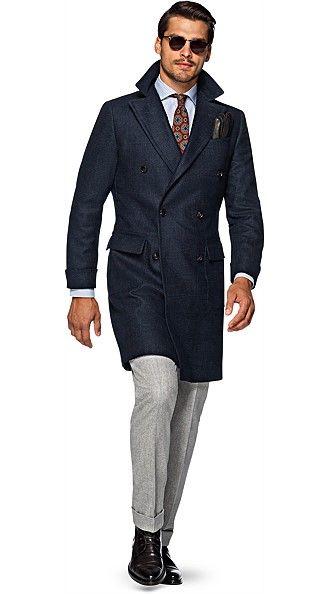 Manteau à double boutonnage Bleu