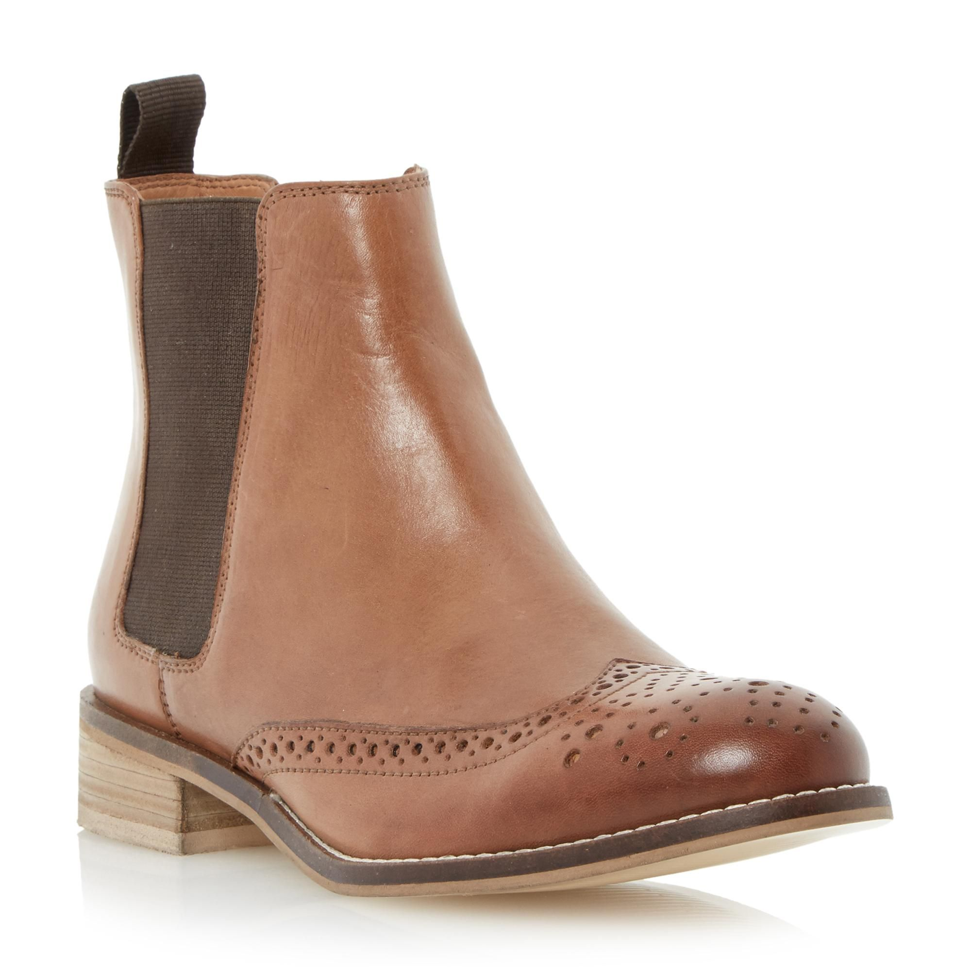24ef9a8dac18 DUNE LADIES QUENTIN - Leather Brogue Chelsea Boot - tan | Dune Shoes Online